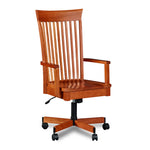 Rolling desk chair in cherry with slatted back and arms and pointed crest