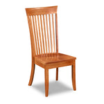 Prouts Neck side chair with flat spindles and squared crest with flare on tall back in solid cherry wood