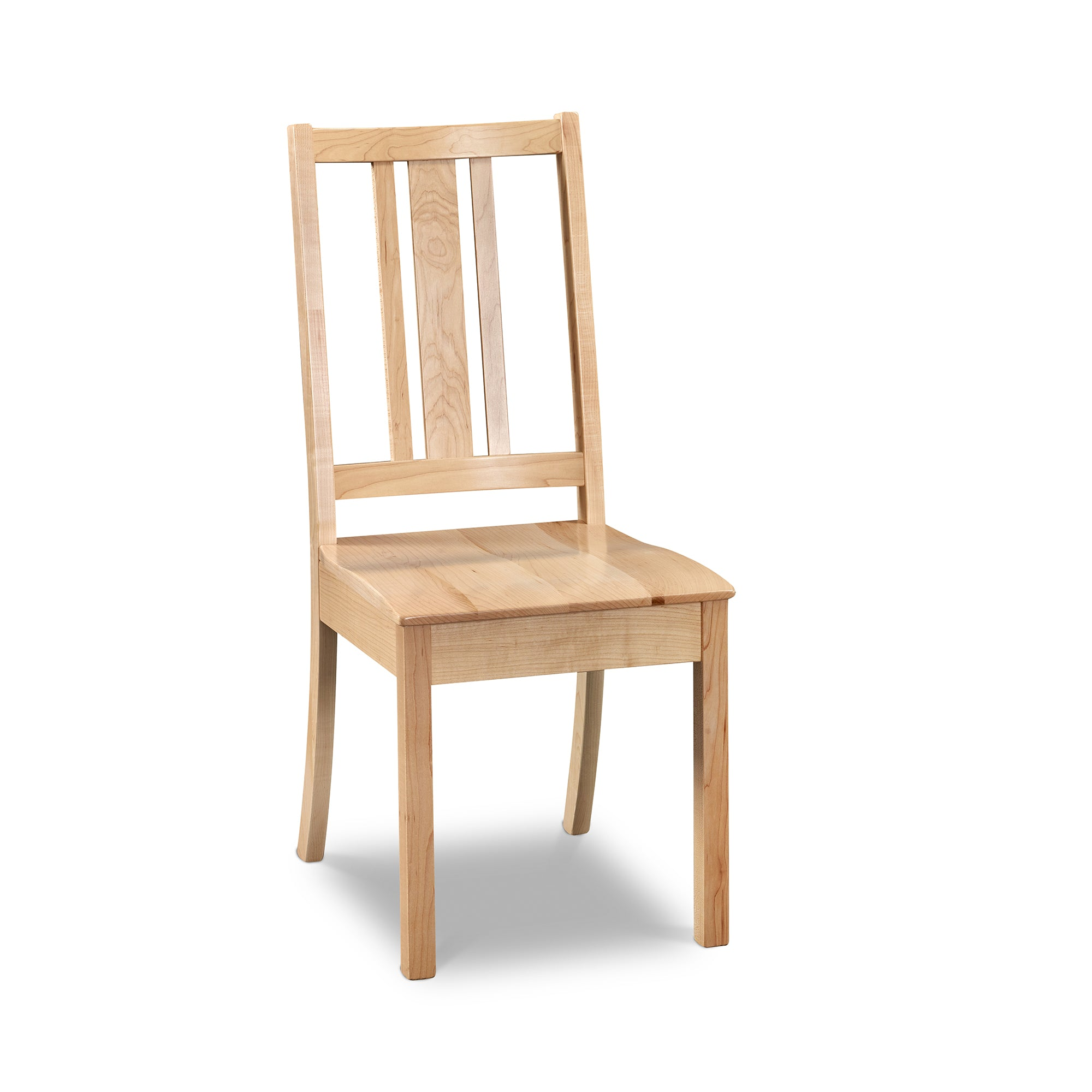 Simple Bungalow inspired side chair with squared back in hard maple wood
