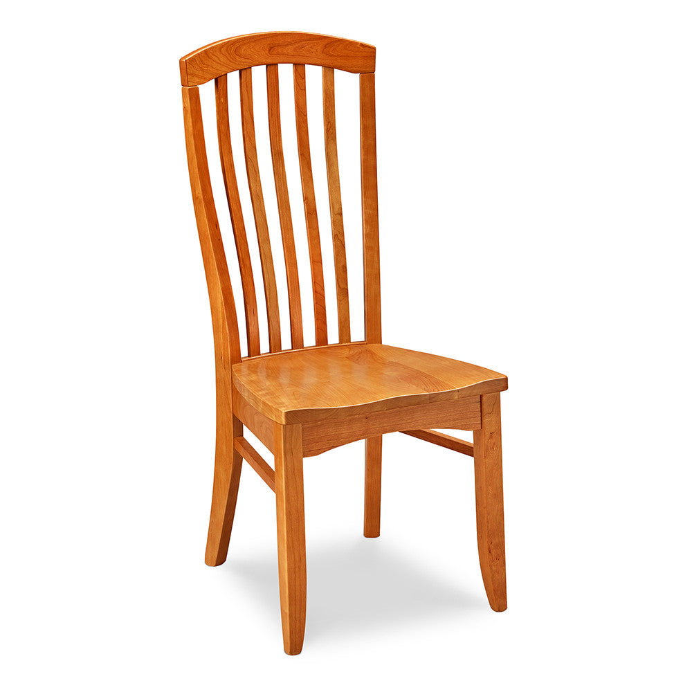 Cape Neddick Side Chair with sculpted flat spindles and rounded crest on tall back in solid cherry wood