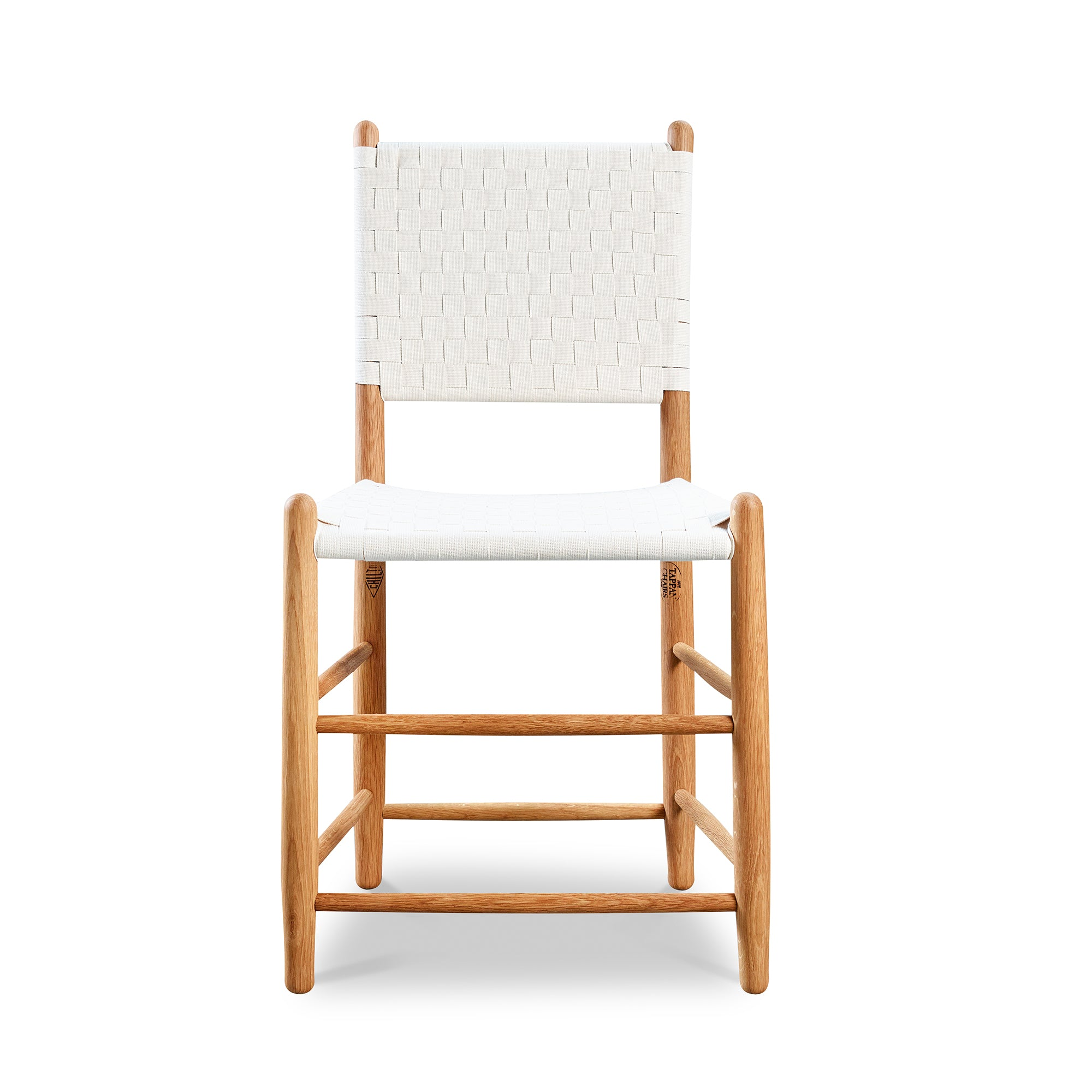 Classic Shaker style dining chair in cherry with woven seat and back tape, from Maine's Chilton Furniture Co.