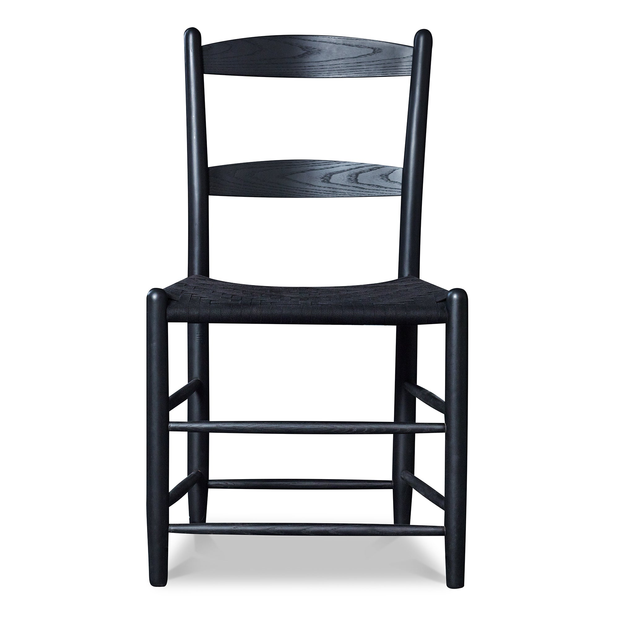 Front View of classic Shaker style dining chair with two slat ladder back, in black with black woven seat tape