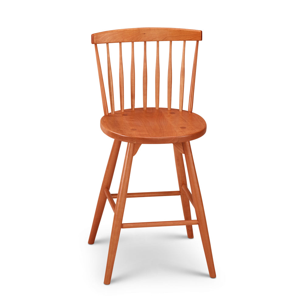 Cherry counter stool with spindle back, from Maine's Chilton Furniture Co.
