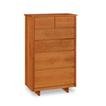 Chilton Furniture's Acadia collection six drawer cherry bedroom sweater chest with under drawer pulls and panel base