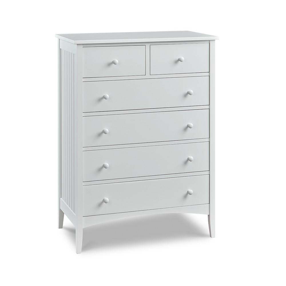 Cottage Chest with six drawers and bead board sides, painted White