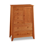 Solid cherry wood Bangor bedroom storage chest with flared legs, six drawers and one door