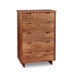 Five drawer Foundation Chest in walnut wood with trestle base and built in drawer pulls