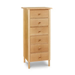 Modern interpretation of a classic Shaker style lingerie chest with six drawers and rounded legs, in solid white oak wood