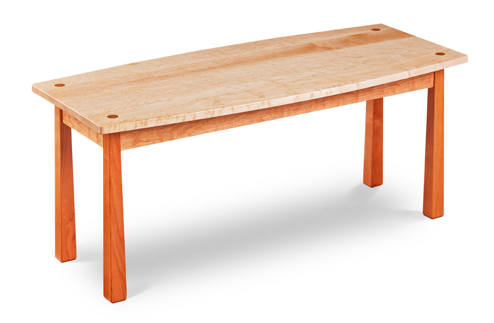 Kittery Boat Coffee Table in solid cherry and birds eye maple with square reverse tapered legs