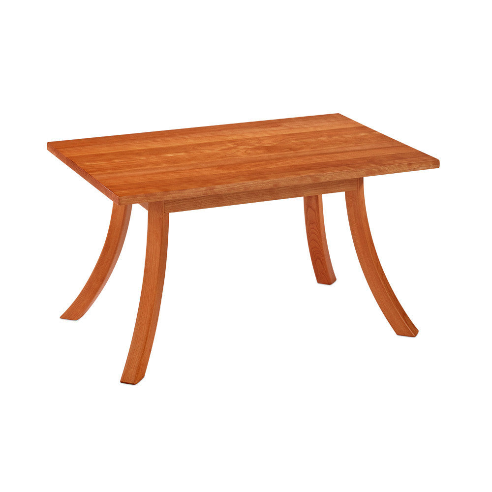 Solid cherry wood rectangular Medomak Coffee Table with gently curved legs, from Maine's Chilton Furniture Co.