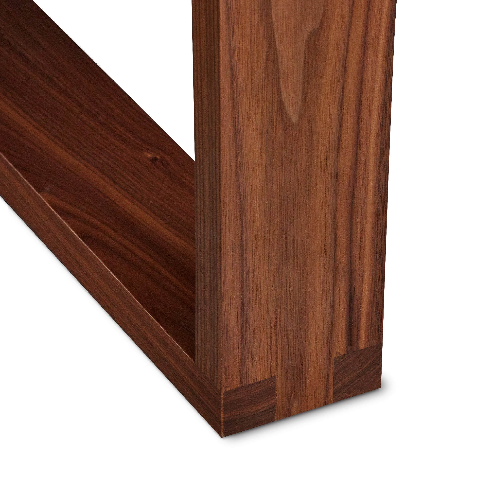 Up close photo of joinery on walnut Lokie Coffee Table