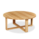 Solid white oak round Lokie Coffee table with minimalist deign and intersecting rectangular frame base