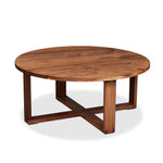 Solid walnut round Lokie Coffee table with minimalist deign and intersecting rectangular frame base