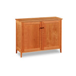 Shaker style cupboard with two doors built of cherry wood from Maine's Chilton Furniture Co.