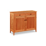 Shaker style storage buffet with two doors and two drawers built of cherry wood from Maine's Chilton Furniture Co.