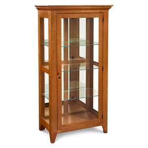 Maine Coast Curio Cabinet with solid cherry frame and glass sides and shelves