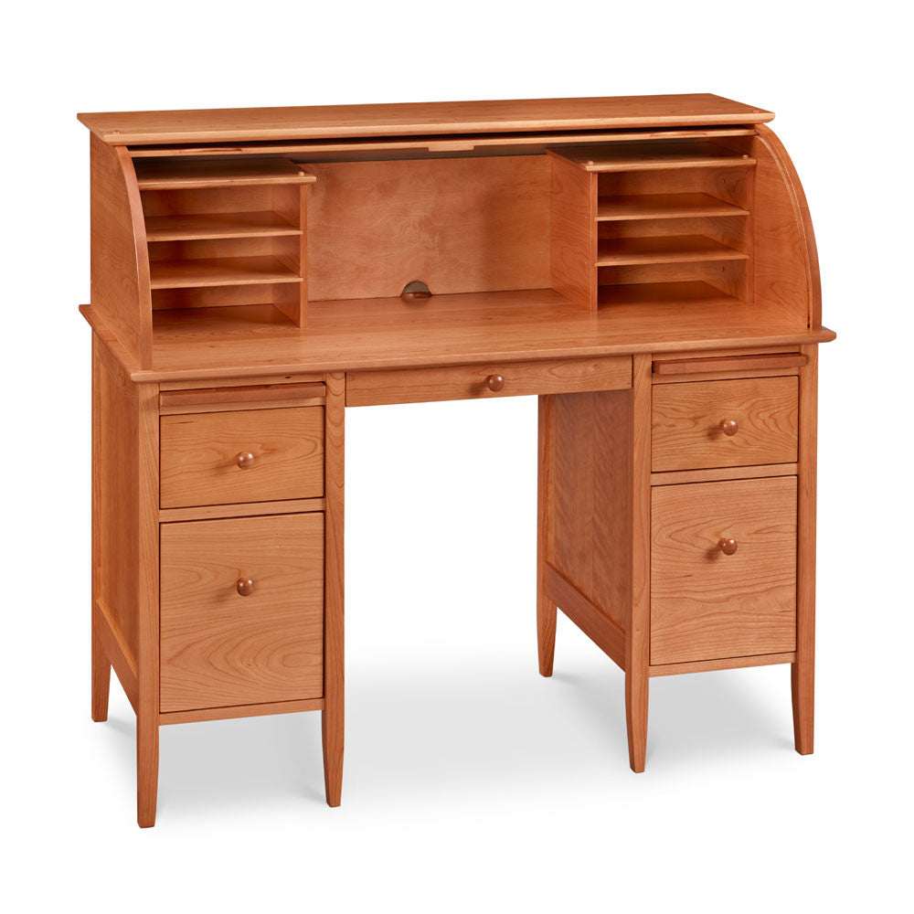 Cherry Roll Top Desk with many drawers and paper slots and square tapered legs