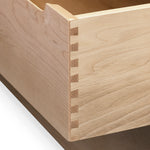 Open drawer of maple Foundation Chest showing dovetail joinery