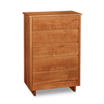 Chilton Furniture's Acadia collection five drawer cherry bedroom chest with under drawer pulls and panel base