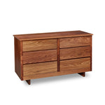 Chilton Furniture's Acadia collection six drawer walnut bedroom dresser with under drawer pulls and panel base