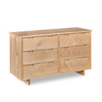Six drawer Foundation Dresser in hard maple wood with trestle base and built in drawer pulls