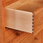 Details on open Shaker style drawer with dovetail joinery