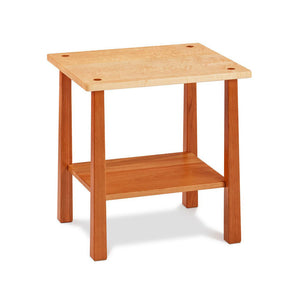 Kittery End Table with low shelf in solid cherry and birds eye maple with square reverse tapered legs