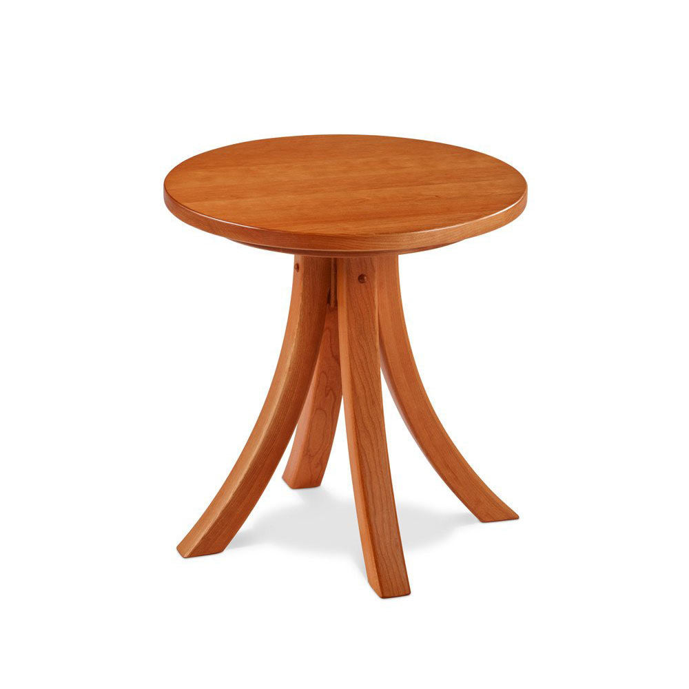 Solid cherry wood round Medomak End Table with gently curved legs, from Maine's Chilton Furniture Co.
