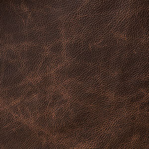Swatch of dark brown toned Chocolate leather option for Chilton Ottoman cushion