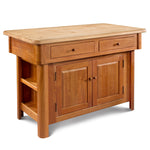 Solid cherry kitchen island with butcher block top and side storage space