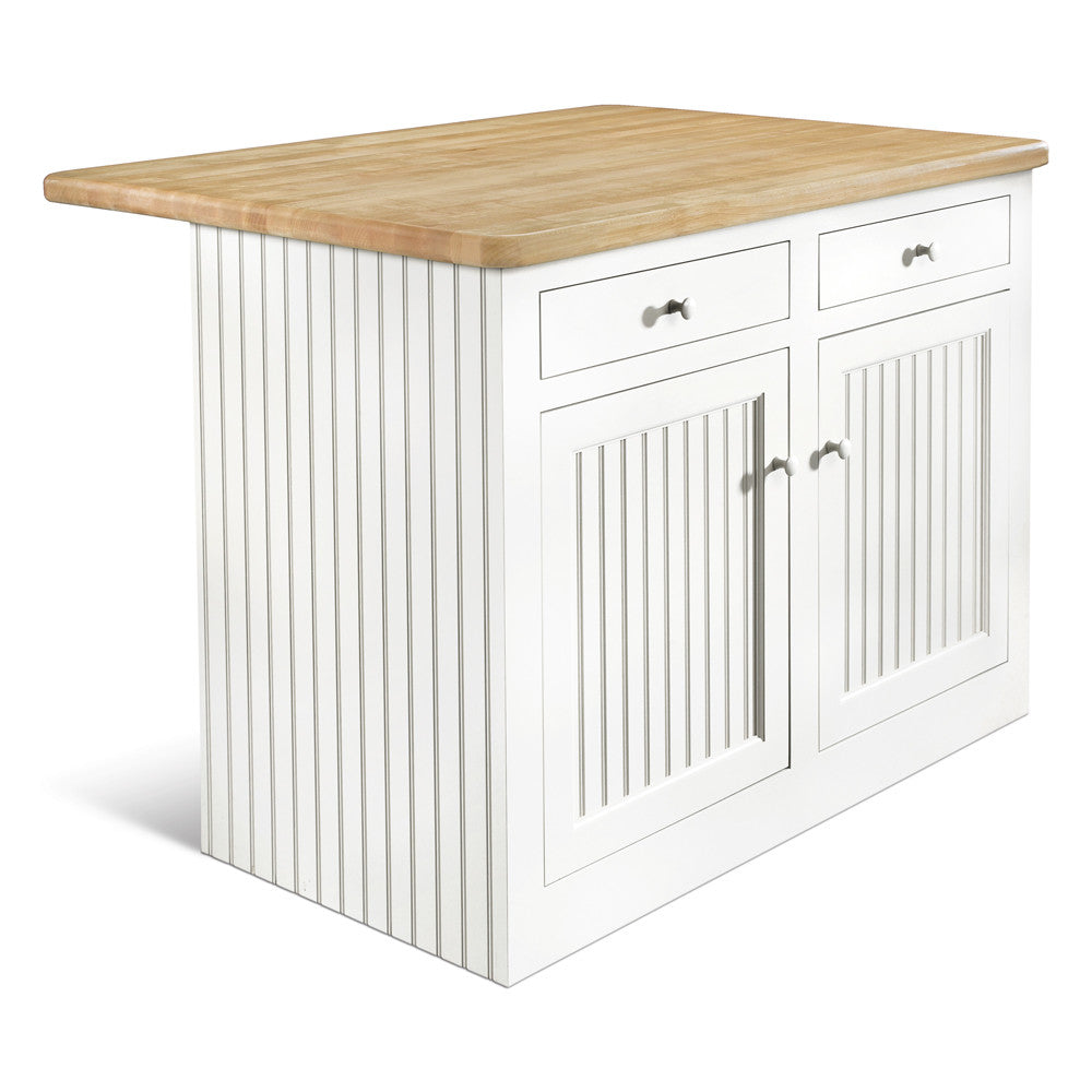 Cottage white painted kitchen island with overhanging butcher block top