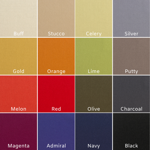 16 color swatches of Knoll fabric options for Chilton Furniture's Nautilus Lounge Chair