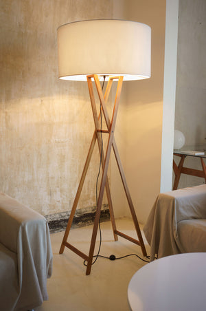 Industrial living room furnished with Cala floor lamp