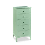 Cottage Lingerie Chest with five drawers and bead board sides, in cottage Seaweed paint color