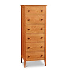 Shaker style, cherry wood six-drawer bedroom storage lingerie from Maine's Chilton Furniture Co.