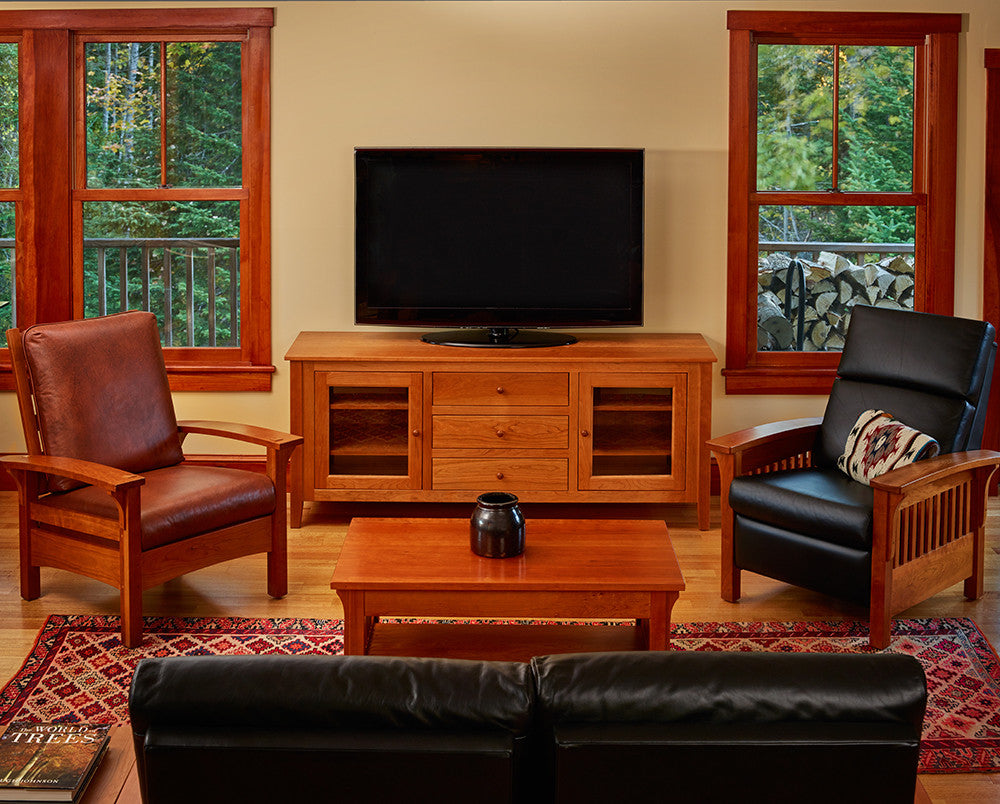 Cozy living room furnished with cherry Salmon Falls Media Console, Arts & Crafts occasional tables and Mission recliners