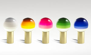 Six Dipping lamps in a row in black, off white, amber, pink, green, and blue