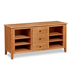 Cherry wood Salmon Falls Media Console with three centered drawers with storage shelves on both sides
