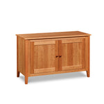 Cherry wood Salmon Falls Media Console with storage shelves behind doors