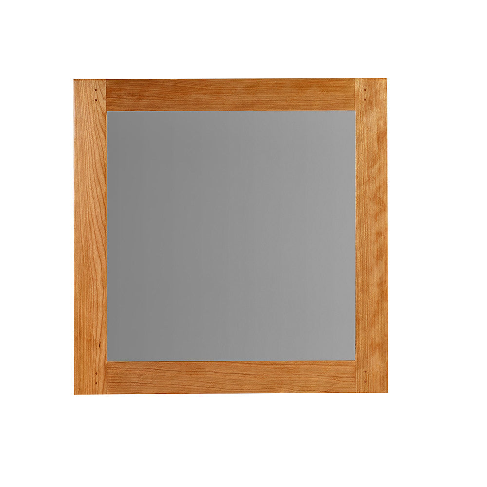 Square wall mirror with cherry wood frame