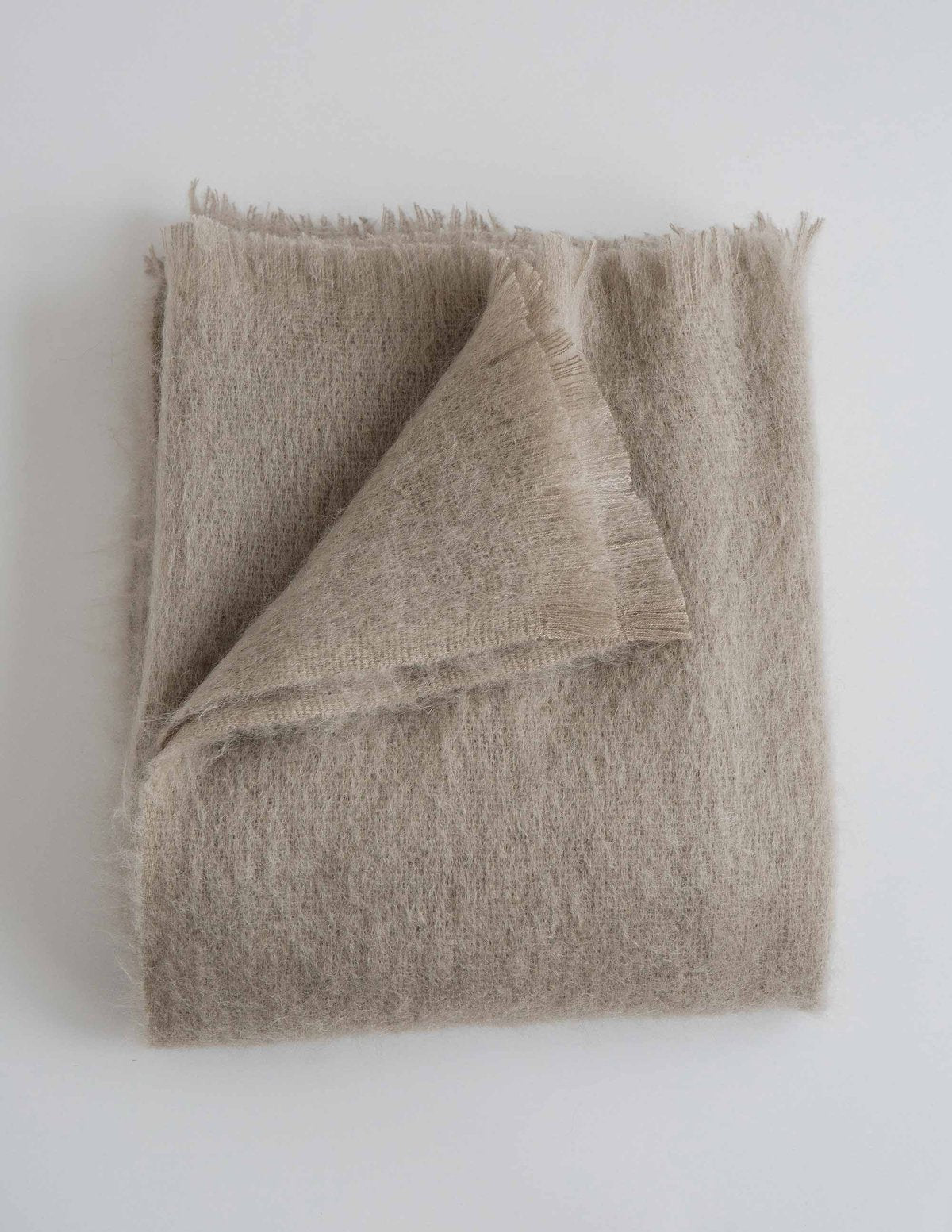 Soft cream mohair throw blanket