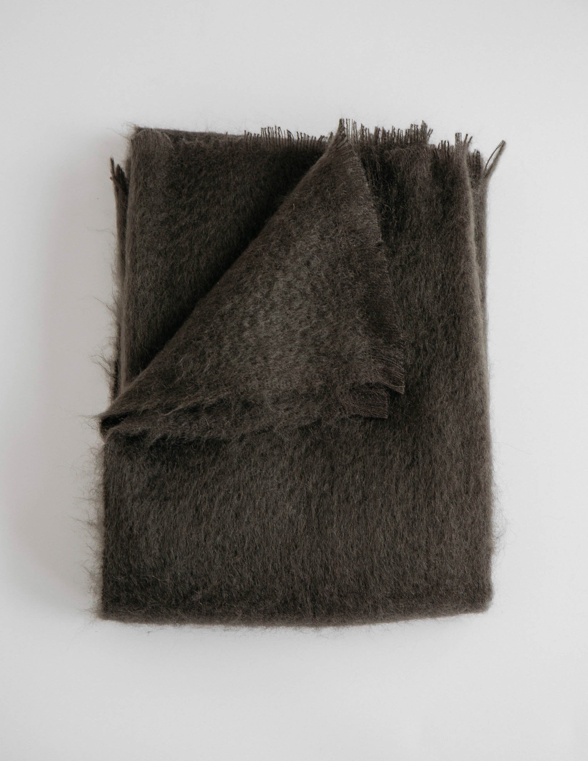 Soft dark brown mohair throw blanket