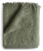 Soft green mohair throw blanket