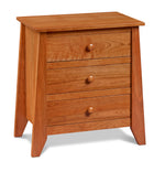 Bungalow style solid cherry wood three drawer Bangor bedroom nightstand with flared legs
