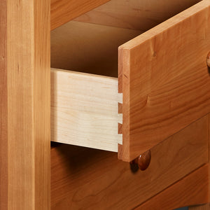 Open drawer of Shaker style Penobscot nightstand, in cherry wood