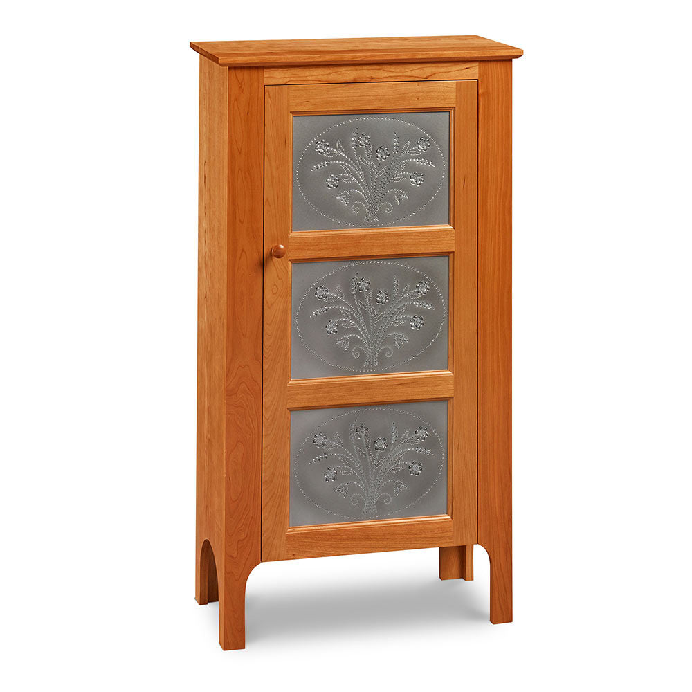 One-door Shaker inspired pie safe with pierced tin panels in the design of flowers, from Maine's Chilton Furniture Co.