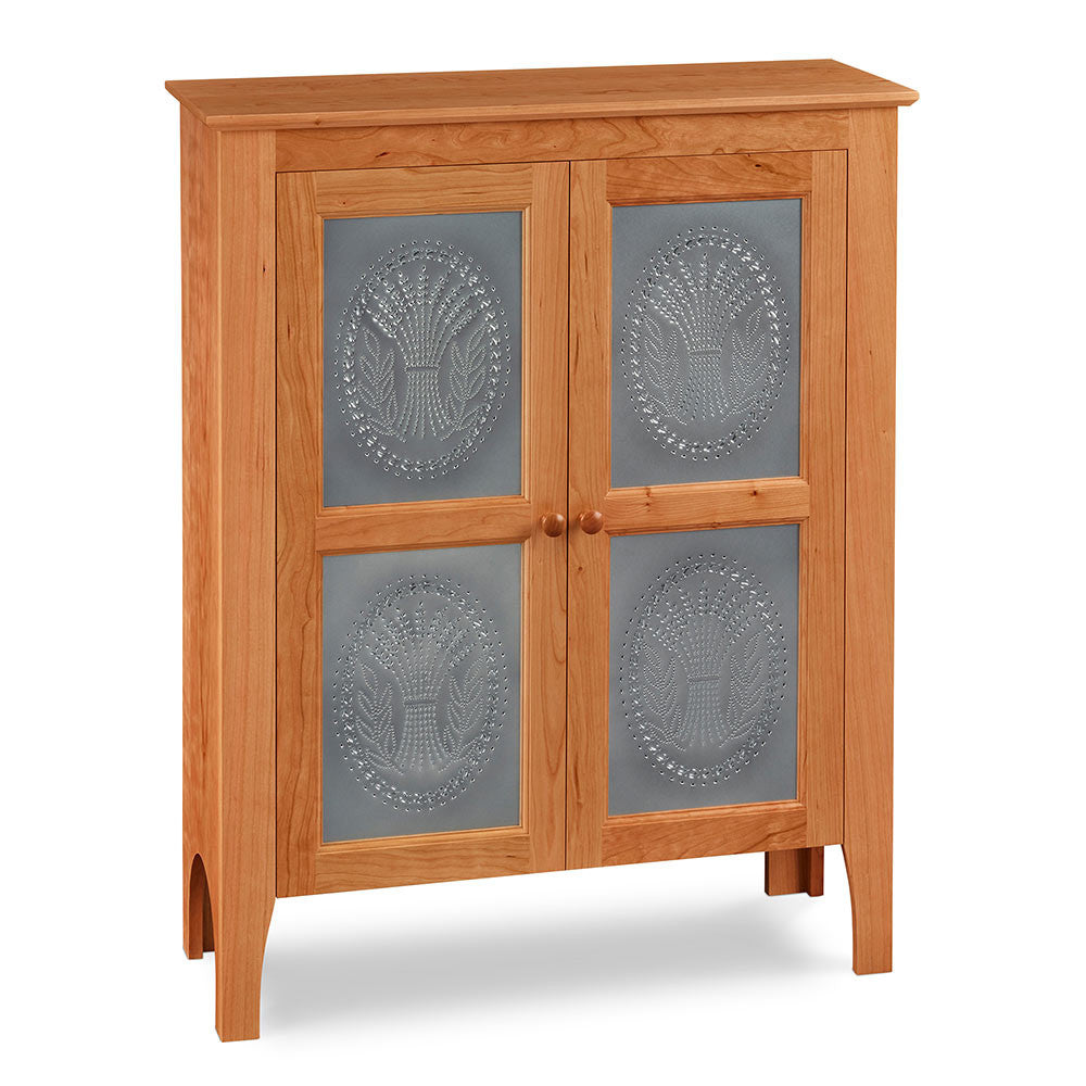 Two-door Shaker inspired pie safe with pierced tin panels in the design of wheat, from Maine's Chilton Furniture Co.