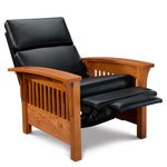 Arts & Crafts style Mission Recliner, in cherry with black leather cushions and seat reclined