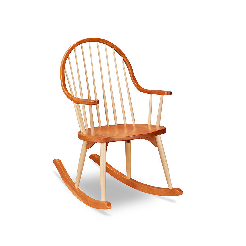 Classic solid cherry wood Shaker rocker with continuous arch from back to arms and rounded maple wood spindles