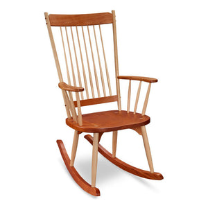 Solid cherry wood rocker with rounded maple wood spindles , from Maine's Chilton Furniture Co.